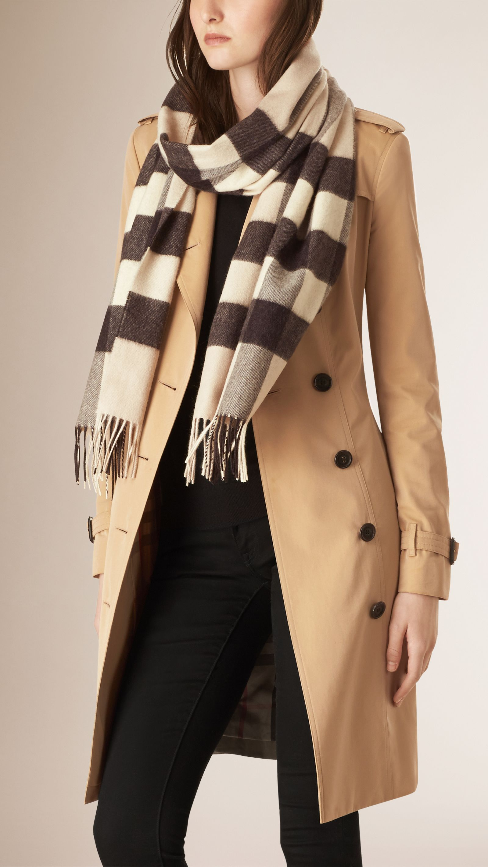 Giant Exploded Check Cashmere Scarf Stone | Burberry