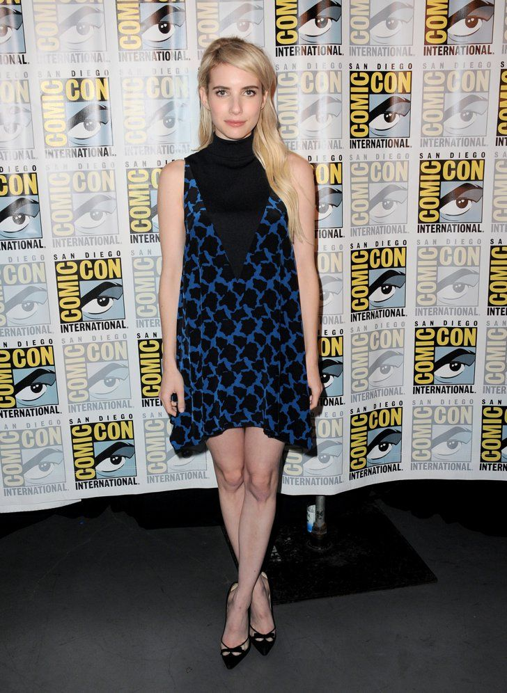 Pin for Later: This Year's Comic-Con Red Carpet Was Sexier Than Ever Before Emma Roberts Emma looked lovely in a turtleneck black and blue sheath dress and pointed pumps. She completed her outfit with Jennifer Meyer jewels.