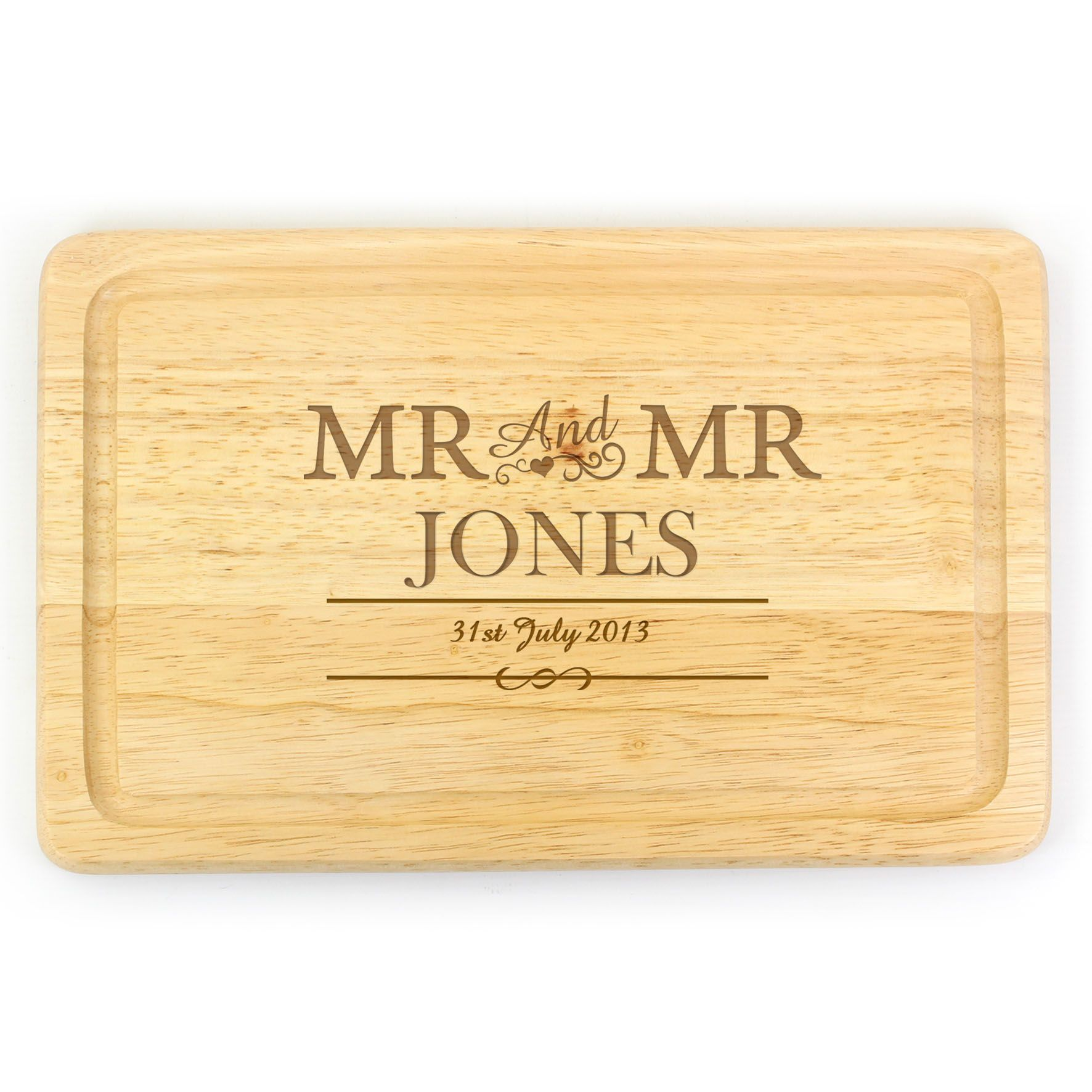 Personalised Mr /& Mrs Surname and Date Wedding Anniversary Chopping Board Gift