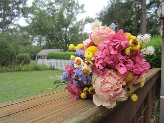 Bridal Bouquet with Naturally Dried Pink by TheCoralBoutique, $65.00