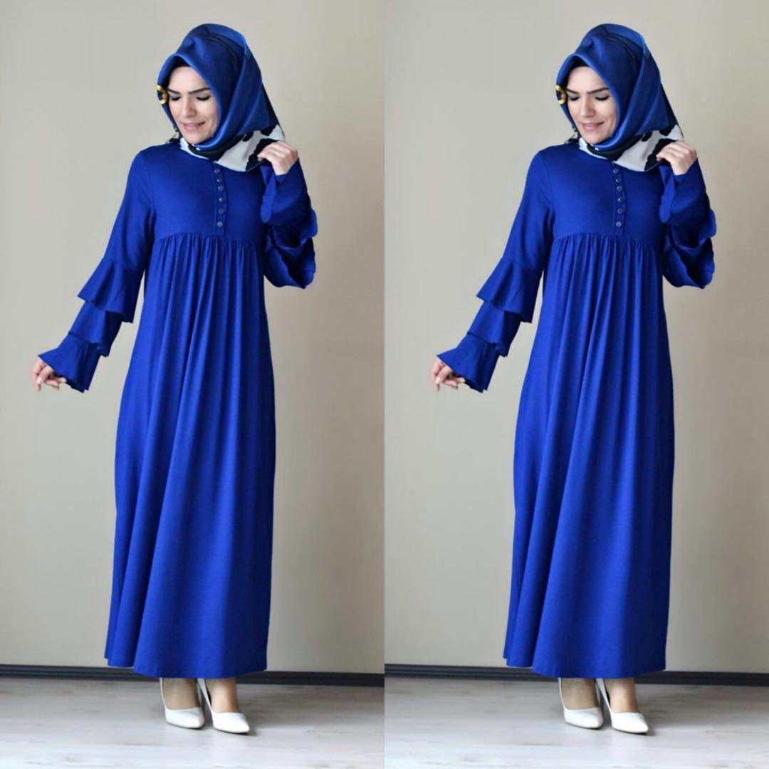 Kollari Firfirli Tesettur Robali Elbise Modelleri Elbise Modelleri Elbise Islami Giyim