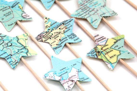 Vintage Atlas Star Shaped Cupcake Toppers Set of by tenpennygray
