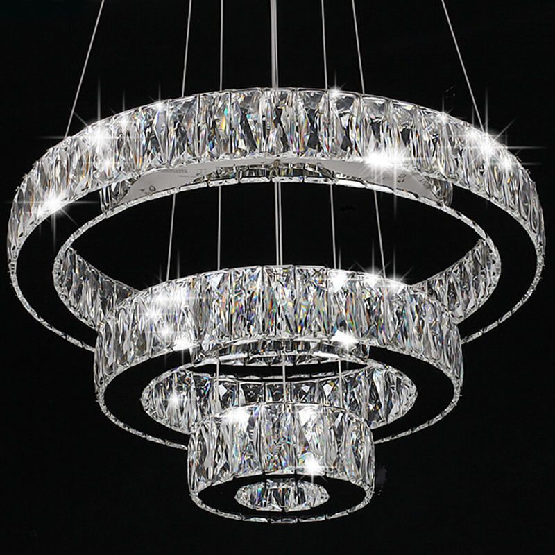 Modern Crystal Round Ring LED Pendant Lamp Ceiling Lights Chandelier Lighting | Chandelier lighting, Ceiling lights, Pendant lamp