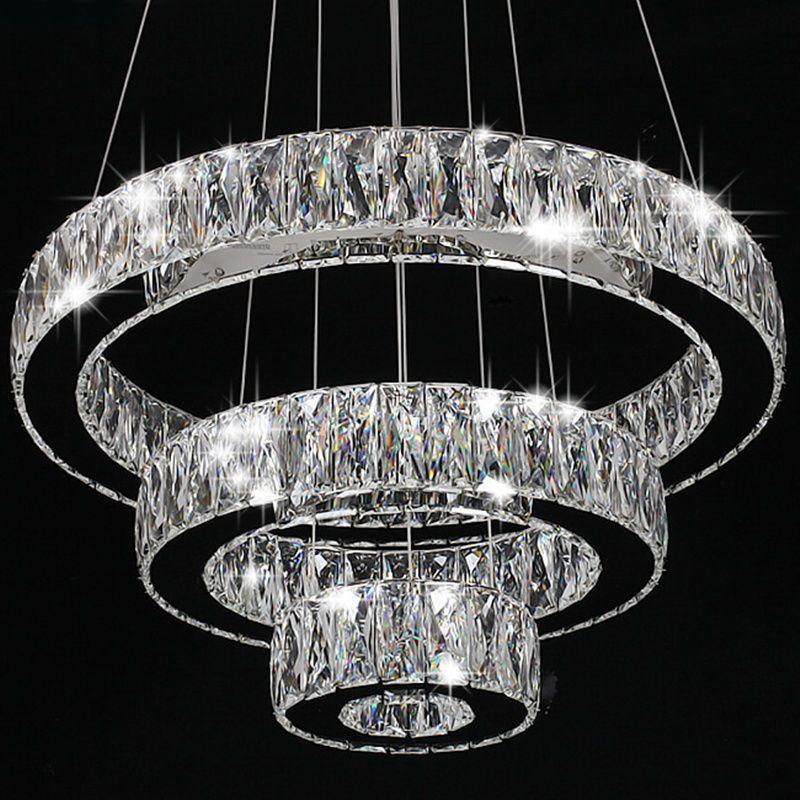 Modern Crystal Round Ring Led Pendant Lamp Ceiling Lights
