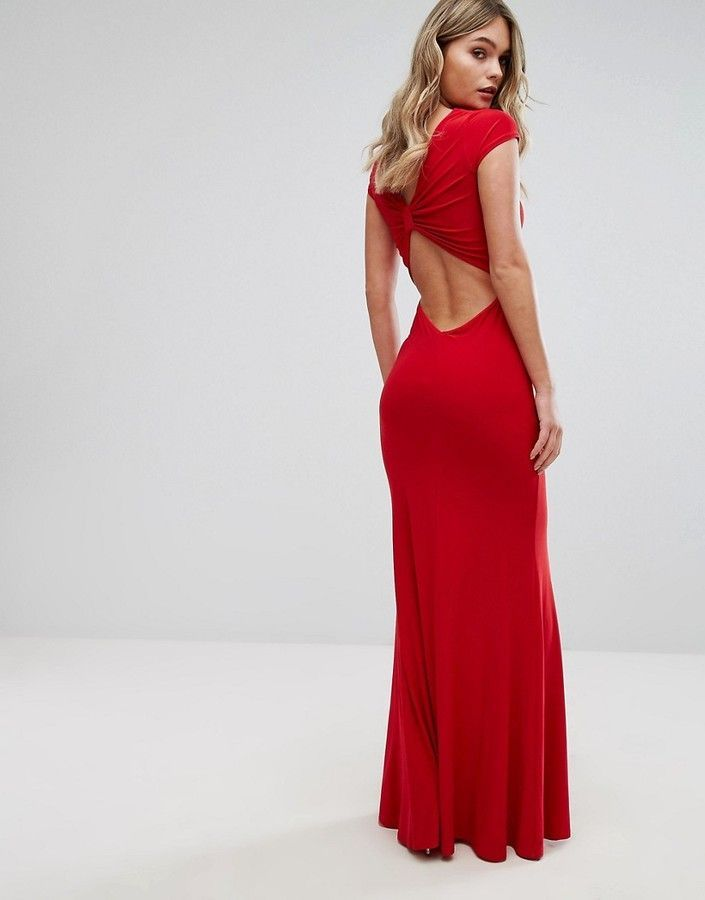 6ed4a96f911 Club L Slinky Bow Back Maxi Dress