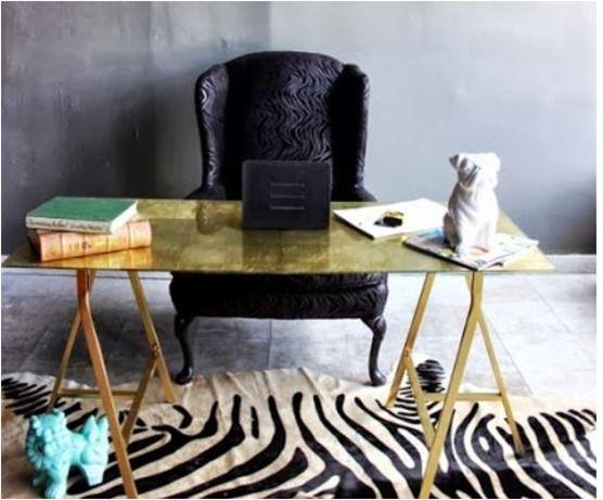 Ikea Lavagne Ufficio : Gold leaf sawhorse desk with ikea legs interiors home office