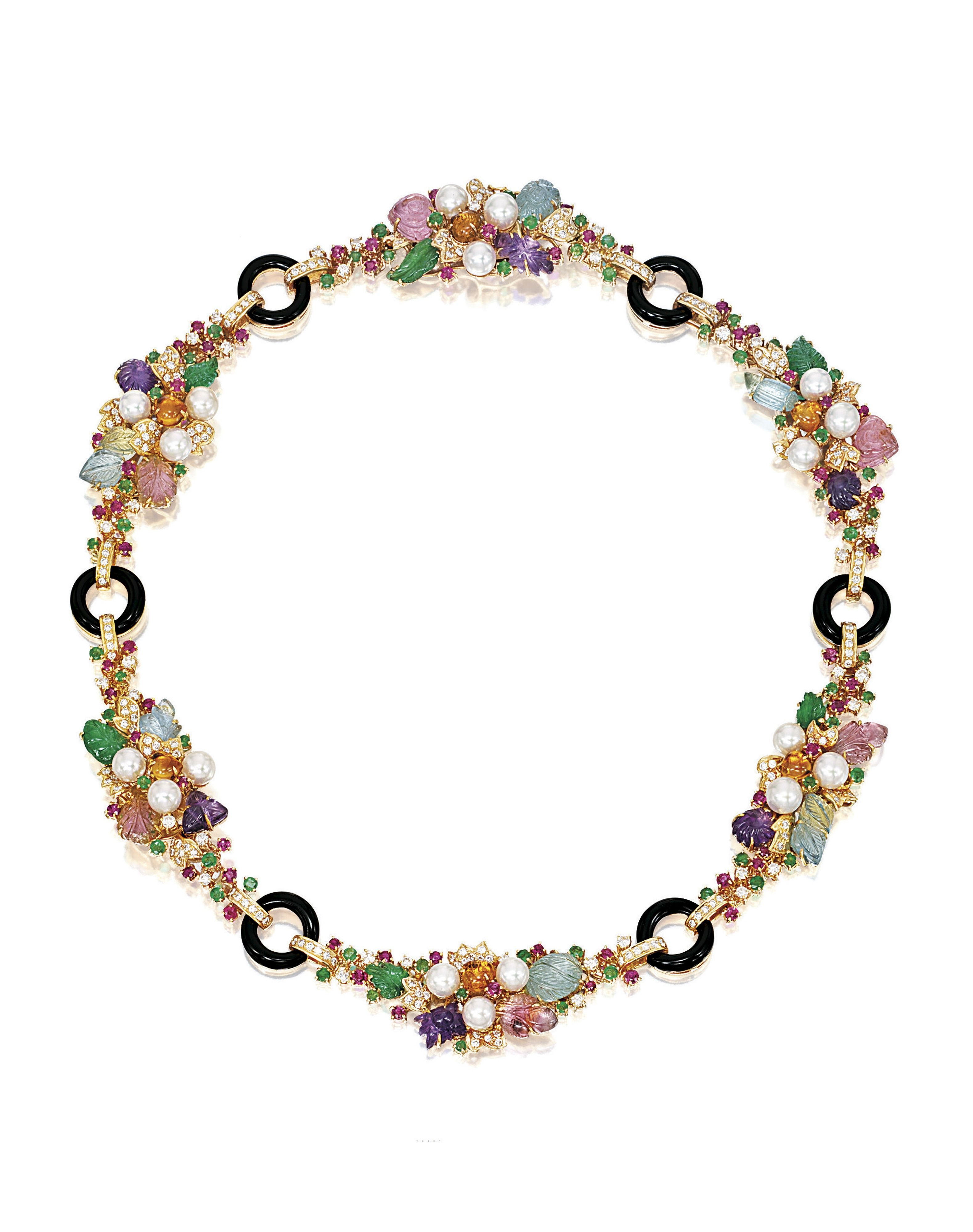 Gemset cultured pearl and diamond necklace of foliage design the