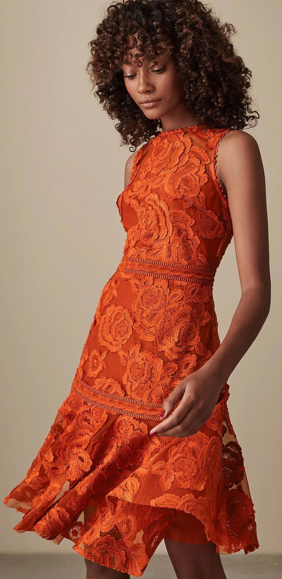 Burnt Orange Lace Floral Dress Perfect Dress For A Spring Wedding Guest Out Orange Wedding Guest Dresses Wedding Guest Outfit Fall Wedding Guest Outfit Spring [ 1918 x 934 Pixel ]