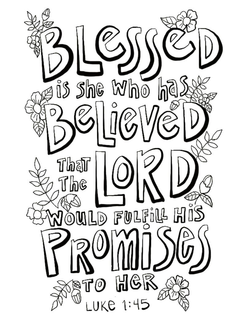 Luke 1 45 Coloring Page On Procreate Bible Verse Coloring Page Hand Lettering Worksheet Bible Verse Coloring