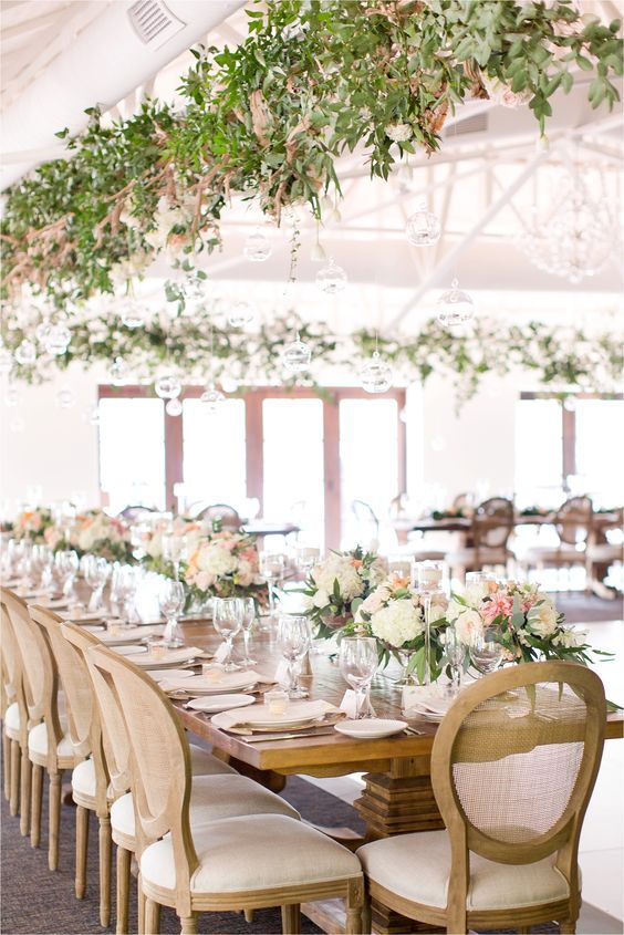 Indoor Greenery Decorated Wedding Reception | Wedding Reception ...