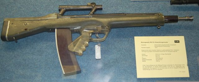The RH-70 was an experimental bullpup assault rifle developed in 1970 by Rheinmetall-Industrie-GmbH of West Germany. It was an entry for a possible 5.56x45mm replacement of the 7.62x51mm G3 battle rifle in German service.
