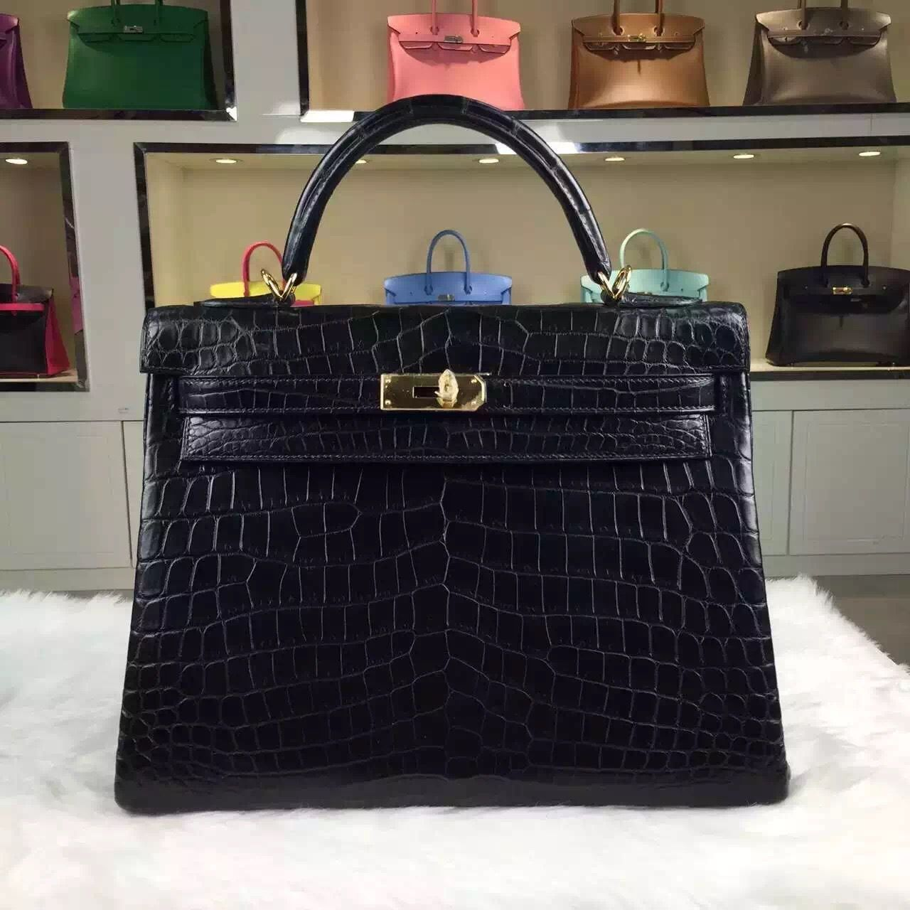 f12609d64dc1 Brand  Hermes  Style  Kelly Bag 32CM   Material  Crocodile matt Leather(HCP  Original Leather)  Color  Black  Hardware  gold silver  Accessories   Padlock and ...