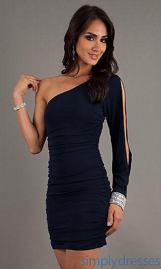 Short Blue One Shoulder Split Sleeve Dress at SimplyDresses.com ...