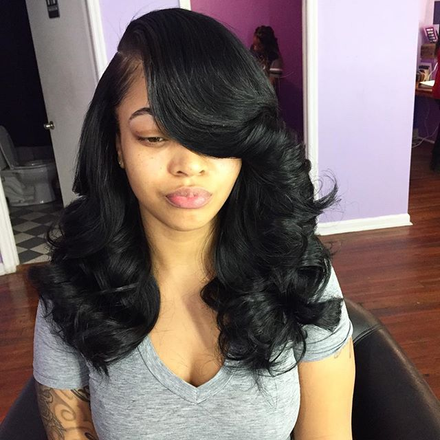 Natural sew in , 4 bundles leave out ️ | Curly weave ...
