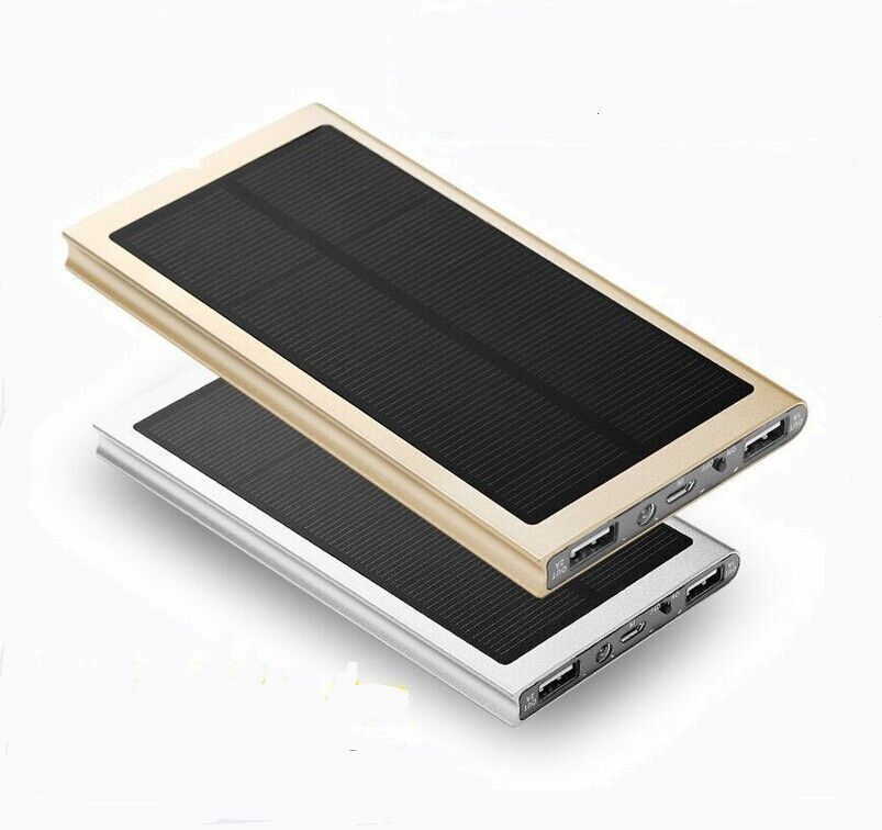 Ultra Thin Metal Case Real 8000mah Solar Power Bank Dual Usb External Pack Battery Charger For Samsung Iphone Ipad Solar Power Bank Powerbank Dual Usb