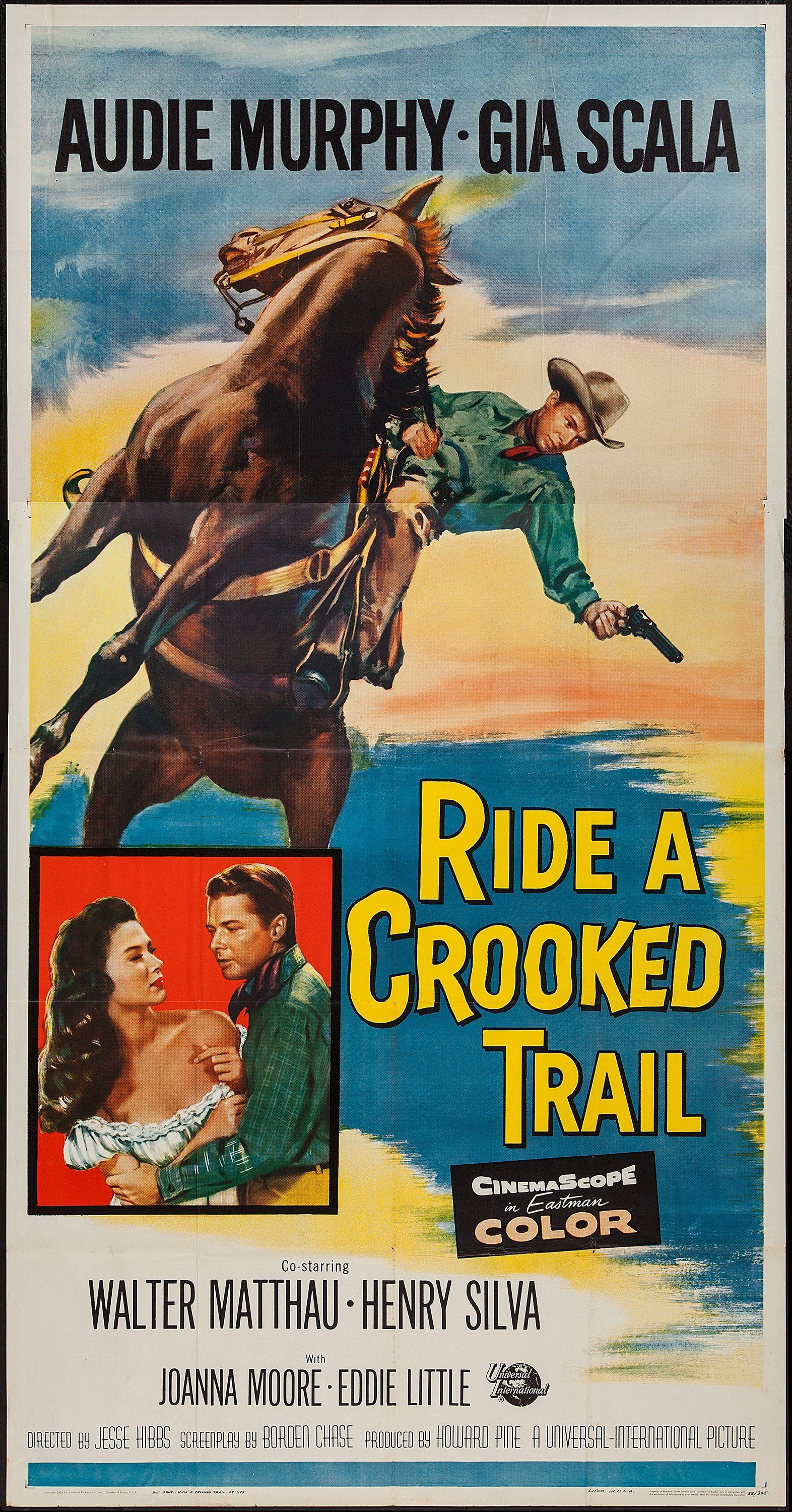 Ride A Crooked Trail Universal 1958 Three Sheet 41 X Lot 54354 Heritage Auctions Movie Posters Vintage Old Western Movies Film Posters Vintage
