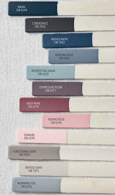 Pottery Barn Sherwin Williams Winter Spring 2019 Paint Color Palette Bedroom Paint Colors Sherwin Williams Paint Color Palettes Pottery Barn Colors