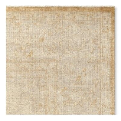 "Golden Fields Hand Knotted Rug Swatch, 18"" X 18"", Silver/Golden"