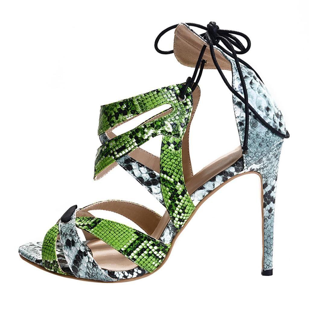 Onlymaker Women's High Heel Open Toe Lace-Up Sandals Green PU Size US 6
