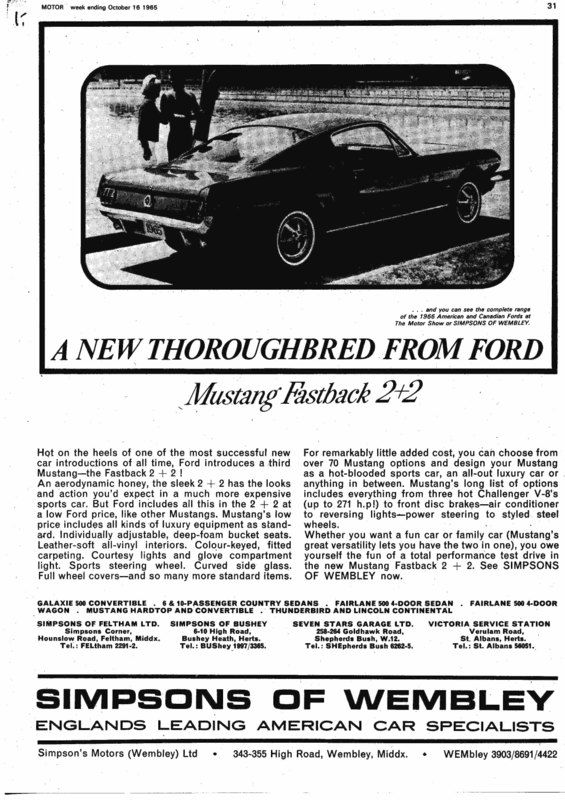 mustang dearlership advertising for early ford 39 s and. Black Bedroom Furniture Sets. Home Design Ideas
