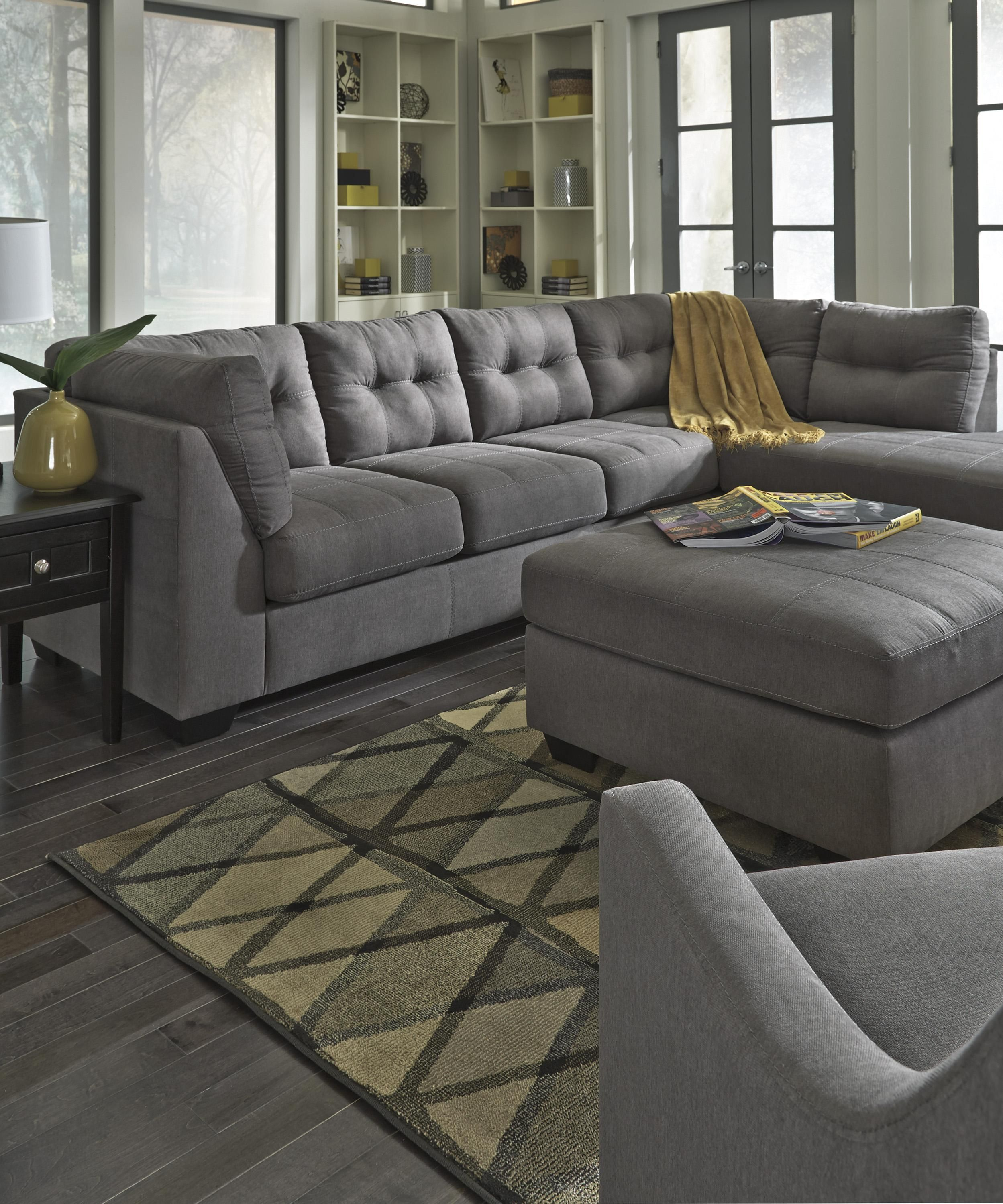 Best Maier Charcoal 2 Piece Sectional With Right Chaise By 400 x 300