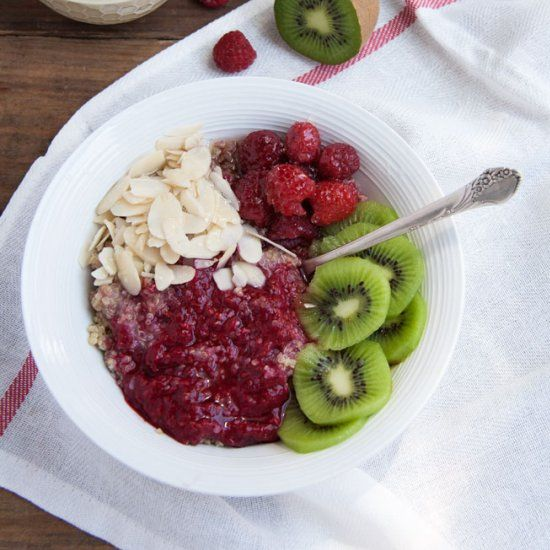 Breakfast Quinoa with fruits and almonds.