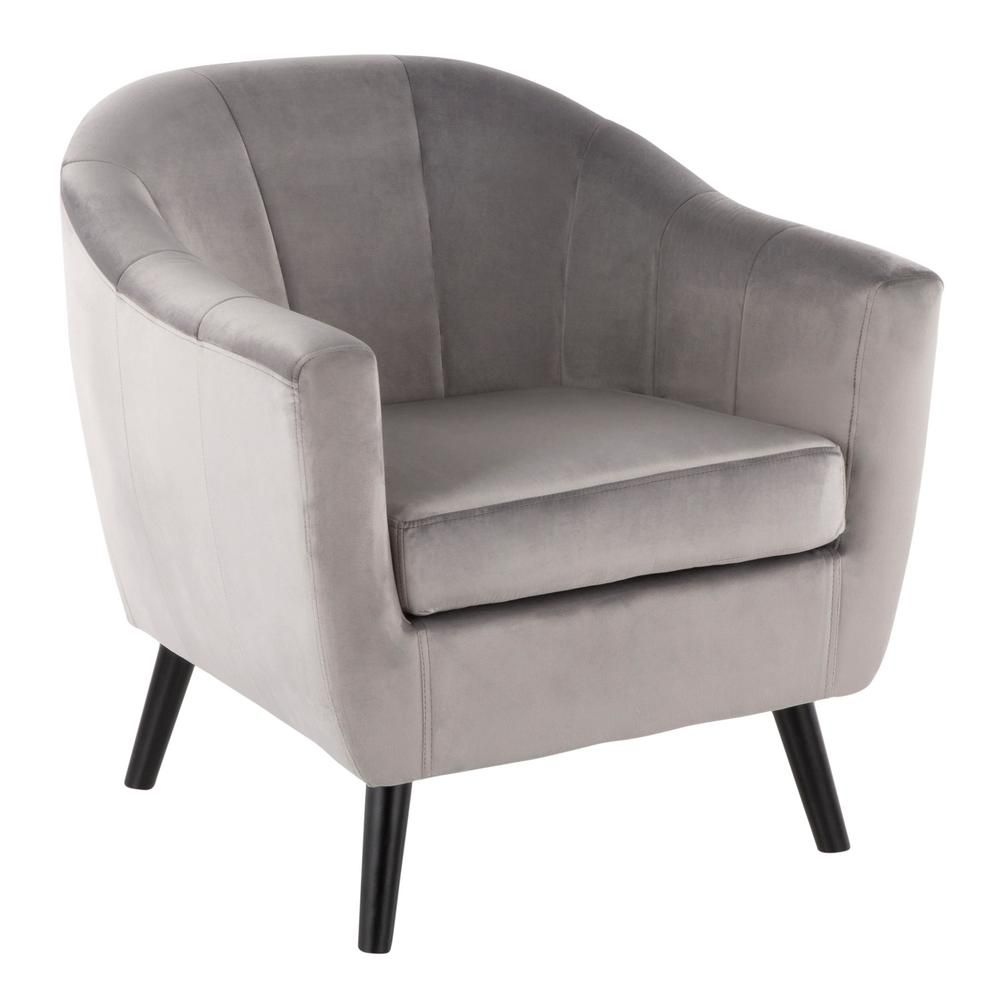Lumisource Rockwell Silver Velvet Accent Chair Accent Chairs Velvet Accent Chair Barrel Chair