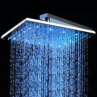 Contemporary 10 Inch Brass Color Changing Led Shower Head Hb10f Hb10f 79 99 Led Shower Head Shower Heads Led Faucet