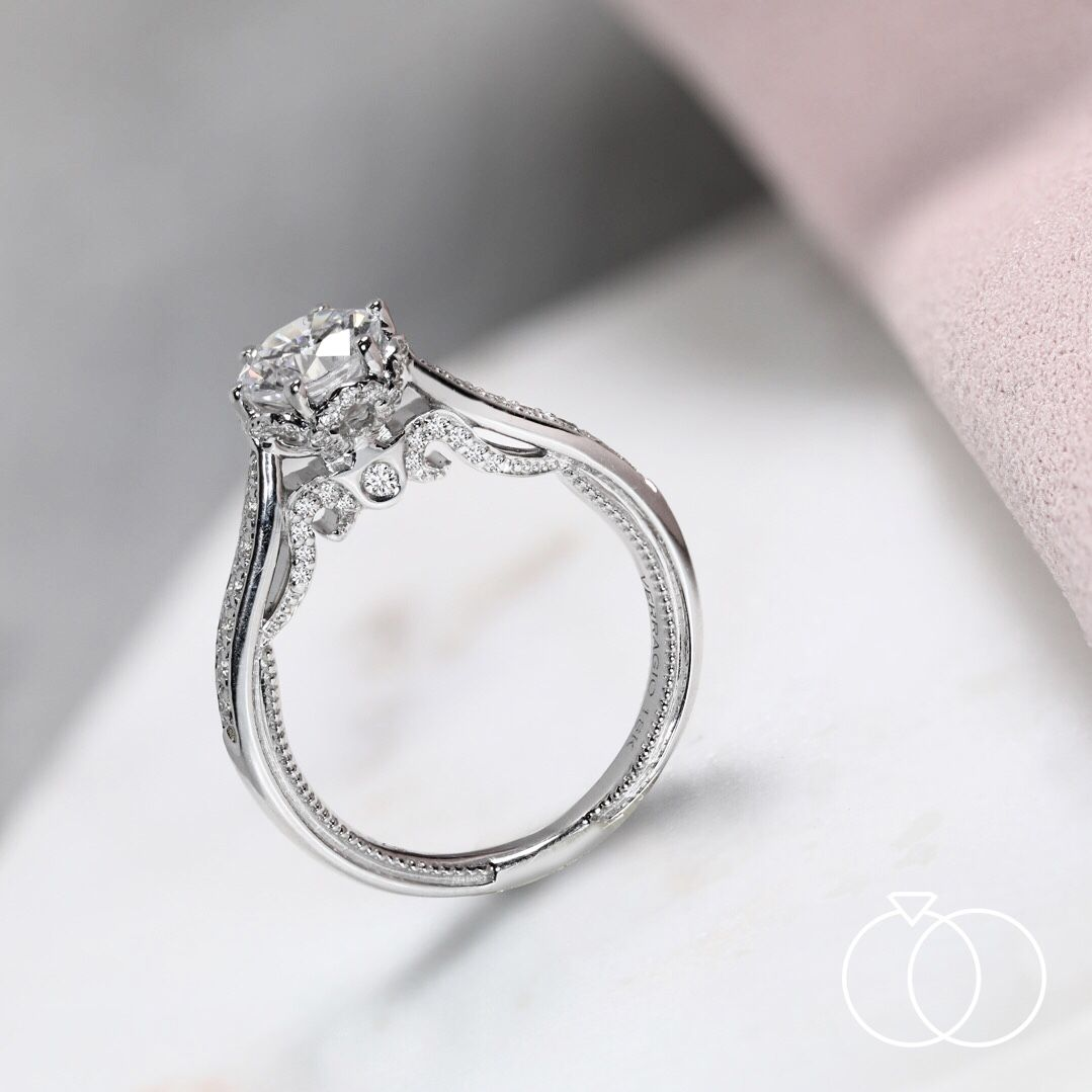 Verragio 18k white gold diamond engagement ring setting 1