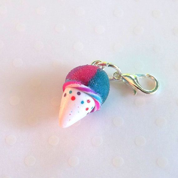 Sno cone charm  Polymer Clay Food Charm  by PitterPatterPolymer