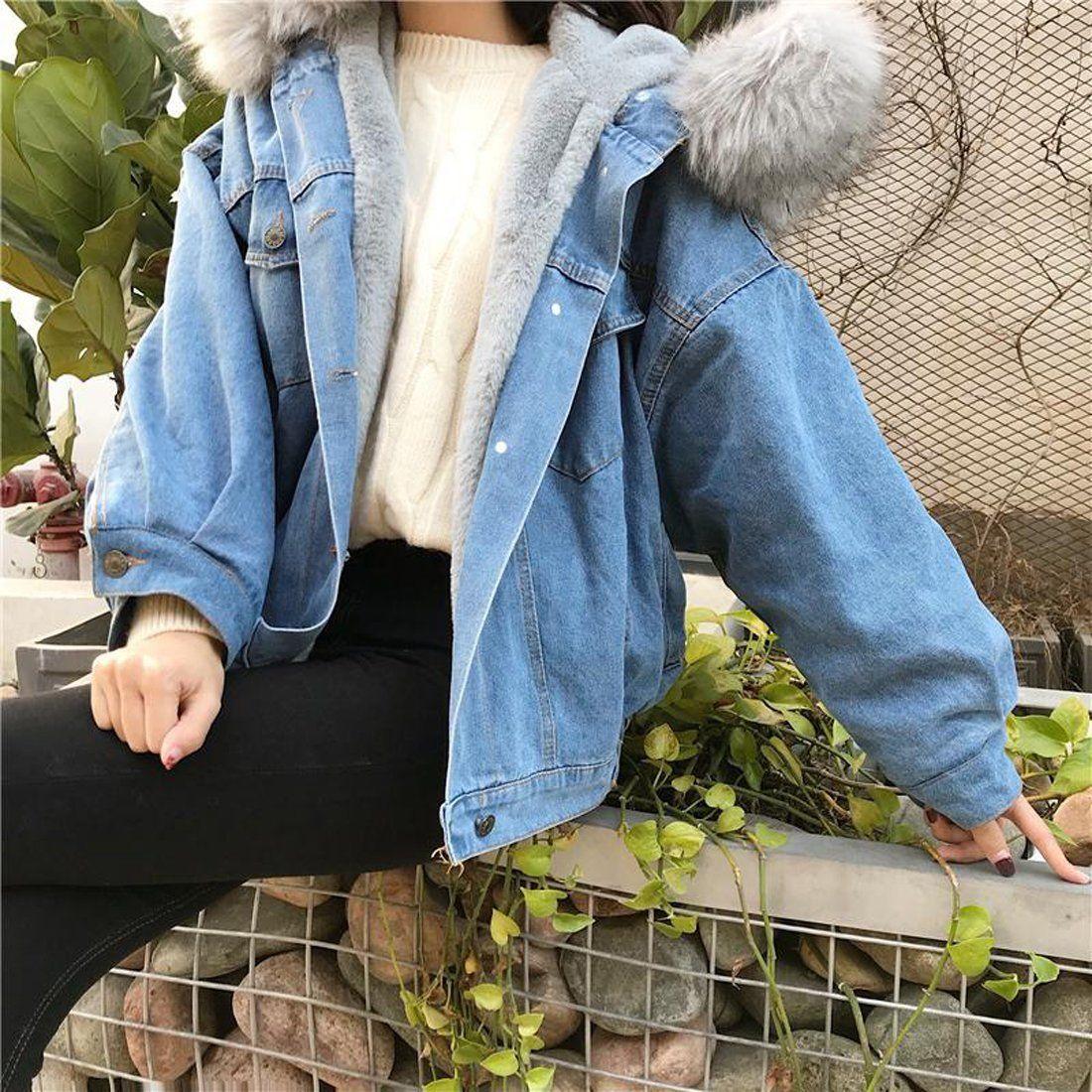 Women S Jean Jacket Big Faux Fur Collar Oversized Batwing Sleeve Denim Wool Liner Velvet Warm Hooded For Winter Denim Coat Jacket Jean Jacket Women Denim Wool Jacket [ 1100 x 1100 Pixel ]
