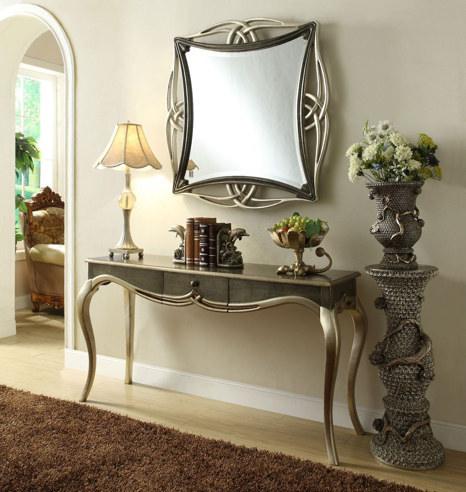 Mirror and Console Modern Dressing Table Hall Table Black Silver