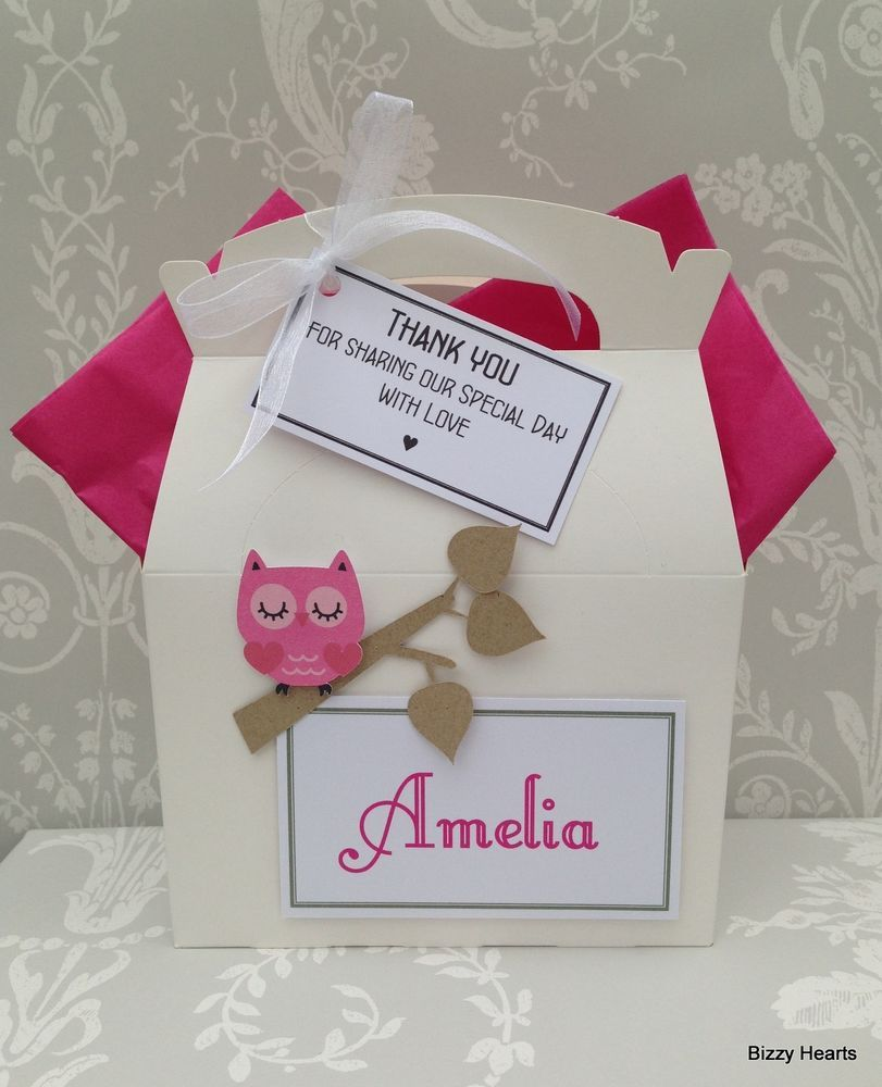 Personalised Childrens 3D OWLS Wedding Favour Activity Box Pack Bag Gift Party
