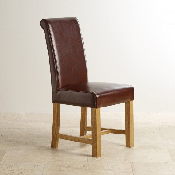 Braced Scroll Back Chair Brown Leather With Solid Oak Legs Oak Dining Chairs Leather Dining Chairs Modern Leather Dining