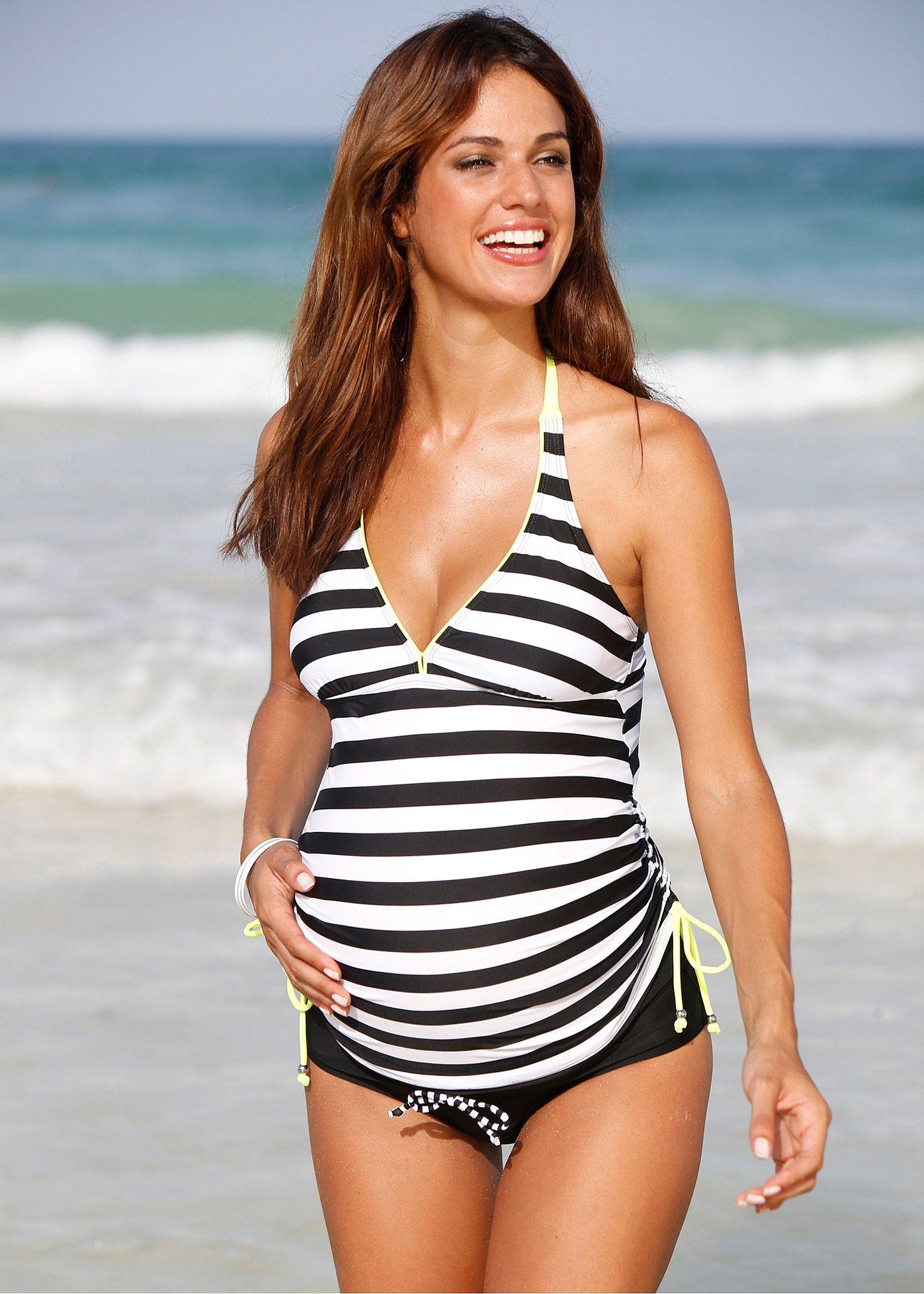 Top per tankini pr maman nero bianco a righe moda mare bpc bonprix collection - Bagno in gravidanza ...