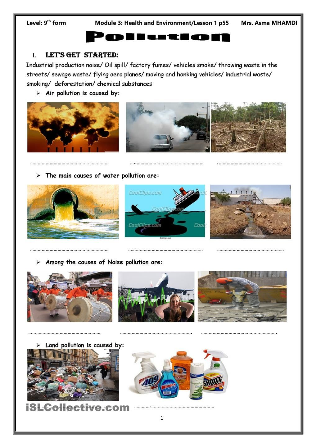 pollution | desktop | English activities, Worksheets ...