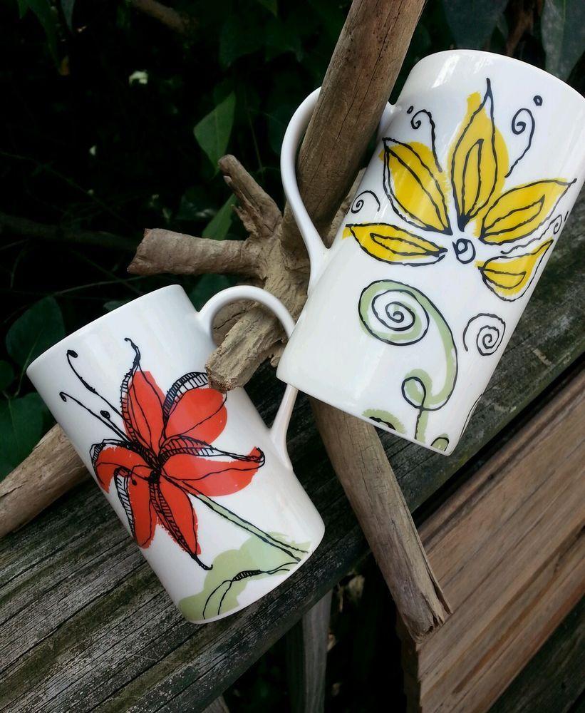 Starbucks 12 oz. Floral Coffee Mug Set Tea Cup Set