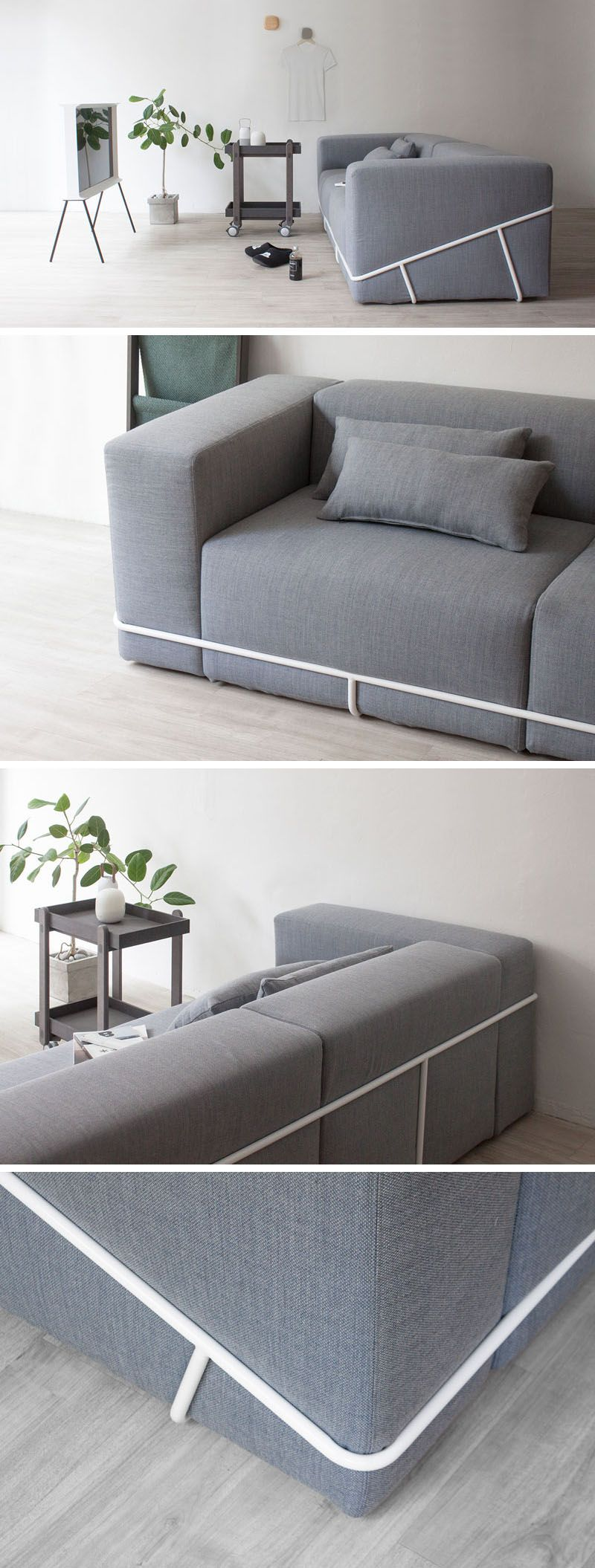 A Simple Metal Frame Contains The Six Cushions That Make Up This