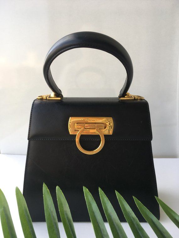 7be251158b33 Salvatore Ferragamo Bag Gancini Mini Tote Kelly Style Top Handle Bag  Authentic Vintage