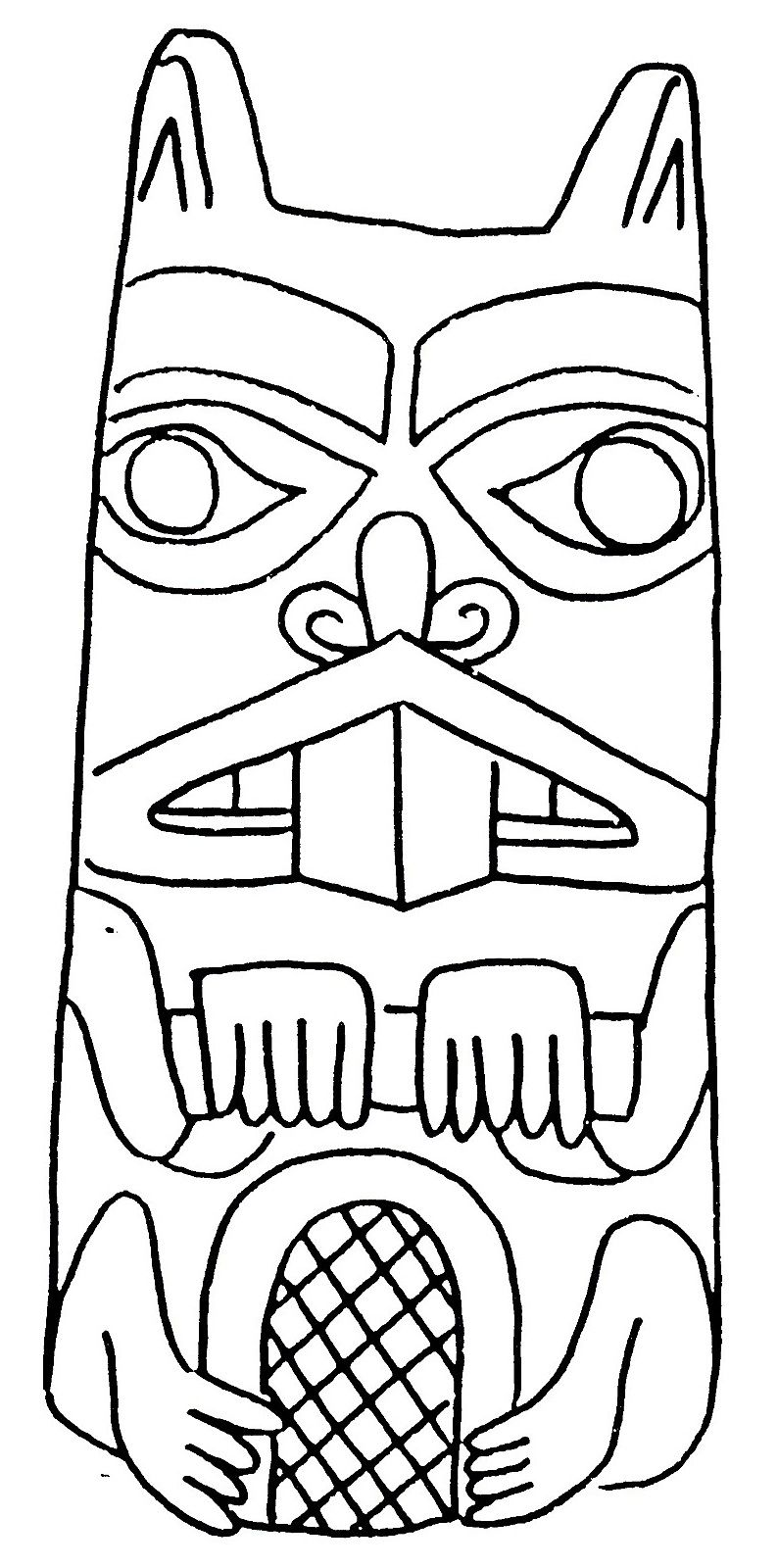Coloring Beaver totem - Coloring pages | carving | Pinterest