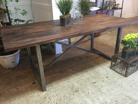 Solid Walnut Table With Metal Frame Base With A Solid Walnut Top