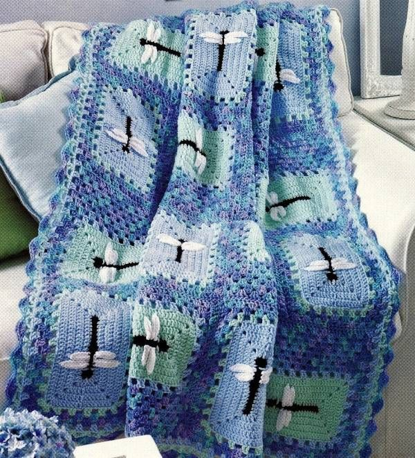 4 Adorable Crochet Afghan Patterns Lady Bug Dragonfly Bumble Bee ...