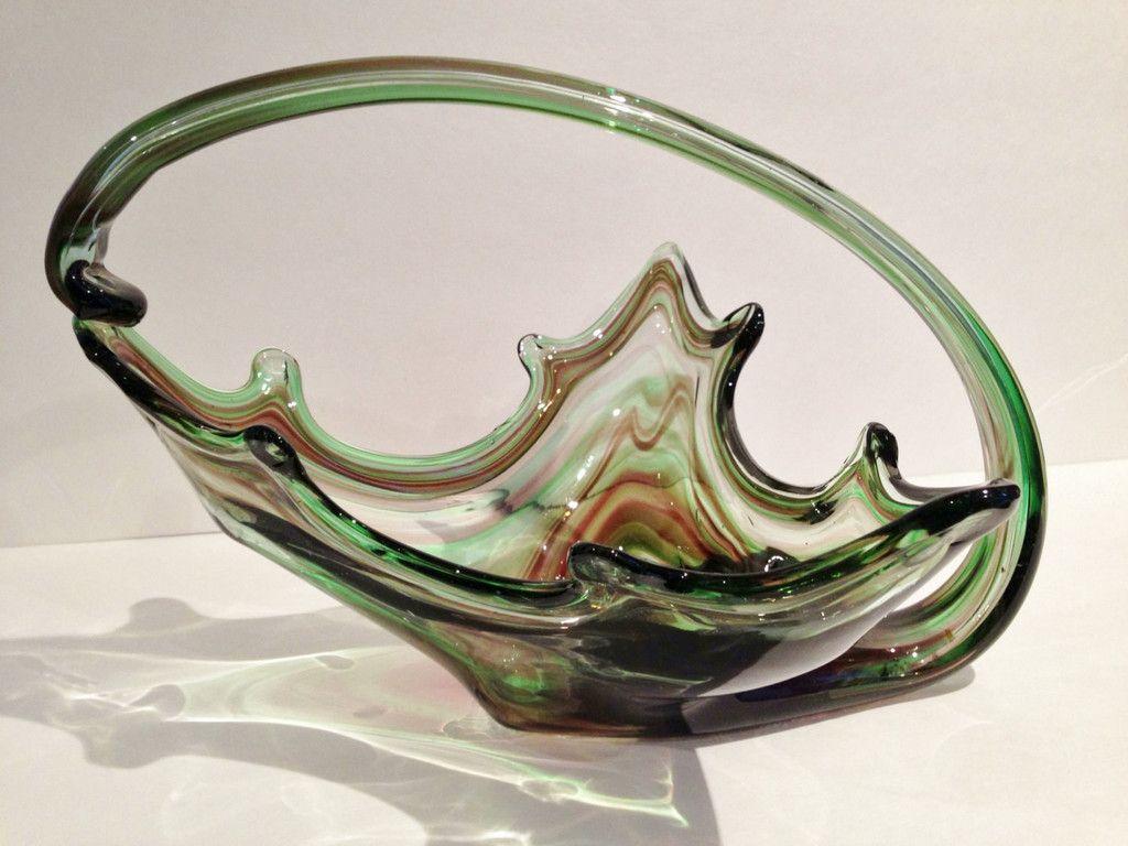 Vintage Mid Century Mad Men Modern Art Glass Reflective Swirl Center P