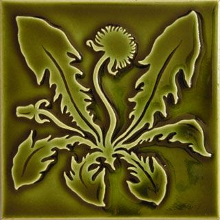 Arts and Crafts Dandelion Olive Green  http://www.carreauxdunord.com/arts_and_crafts_tiles.shtml
