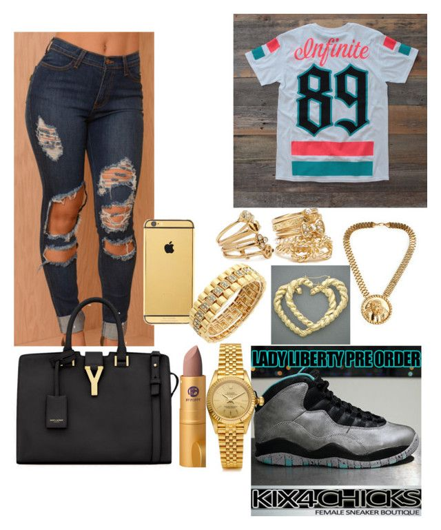 """Lady Liberty"" by imanifashions ❤ liked on Polyvore featuring Forever 21, Goldgenie, Rolex, H.I.P., Cyrus, Lipstick Queen and Yves Saint Laurent"