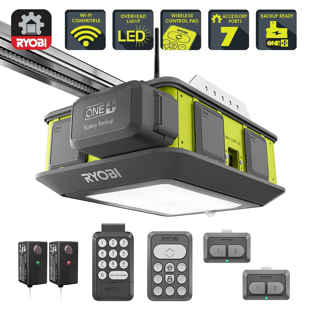Ryobi Ultra Quiet 2 Hp Belt Drive Garage Door Opener With Battery Backup Capability Gd201 Garage Door Opener Garage Doors Ryobi