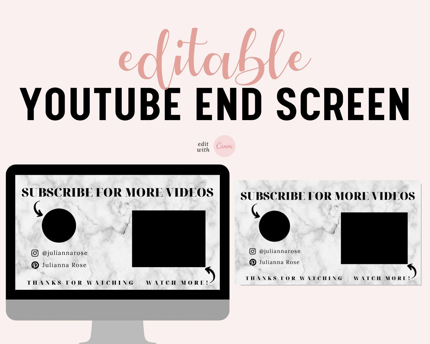 Youtube End Screen Youtube End Card Outro For Youtube Etsy In 2021 Media Kit Template Online Design Personalized Banners