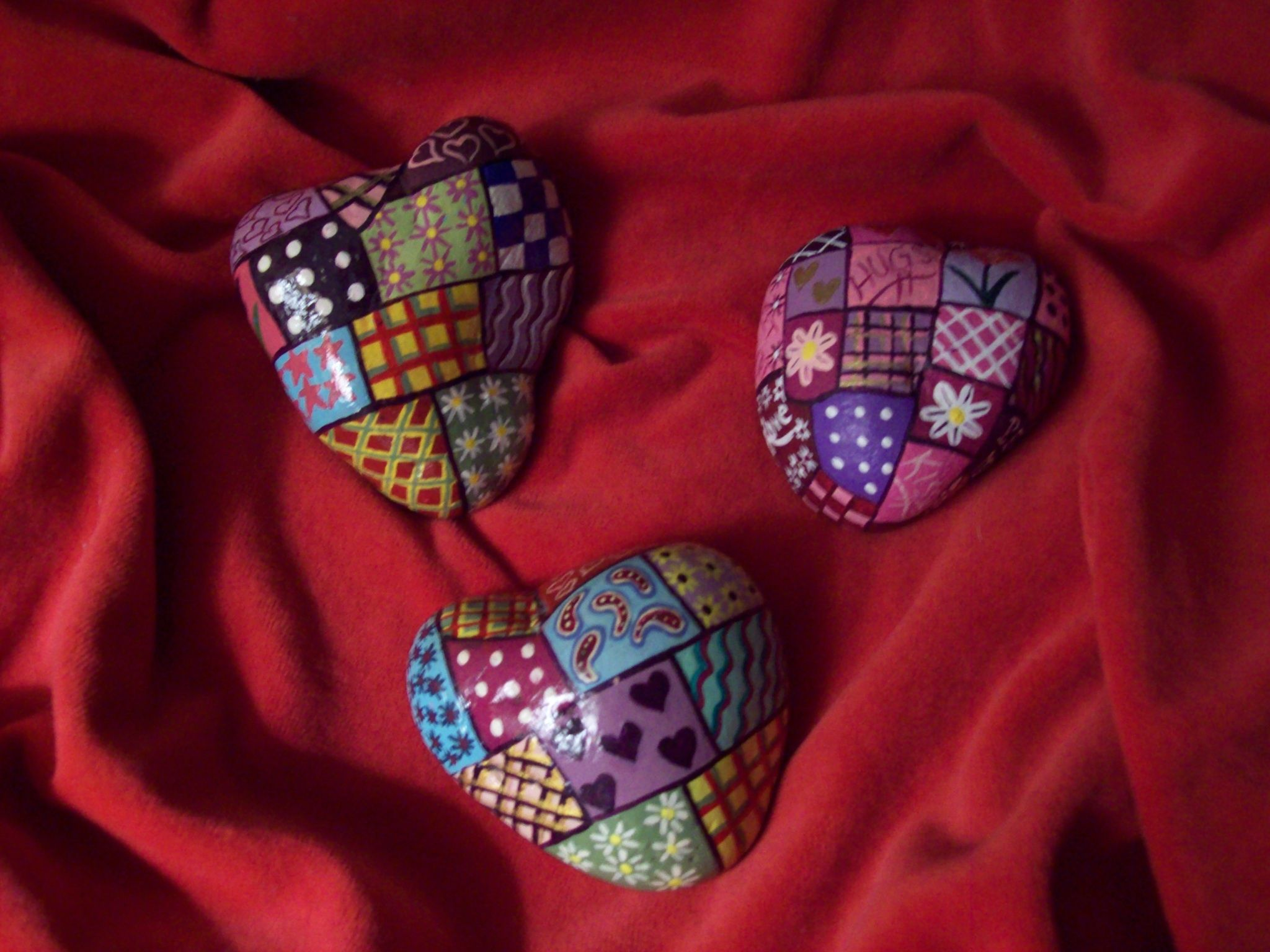 Quilted Heart Rocks