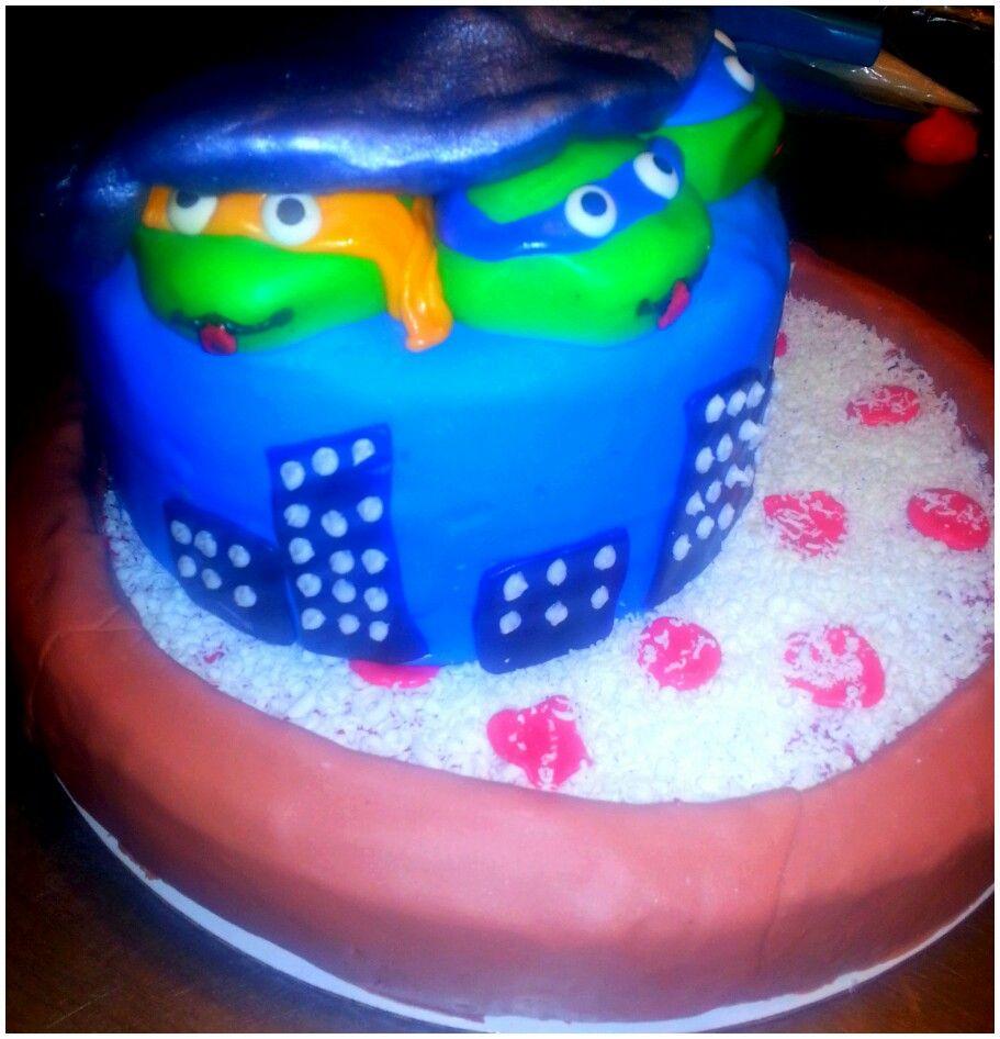 Ninja Turtle Pizza Cake Party Ideas Pinterest