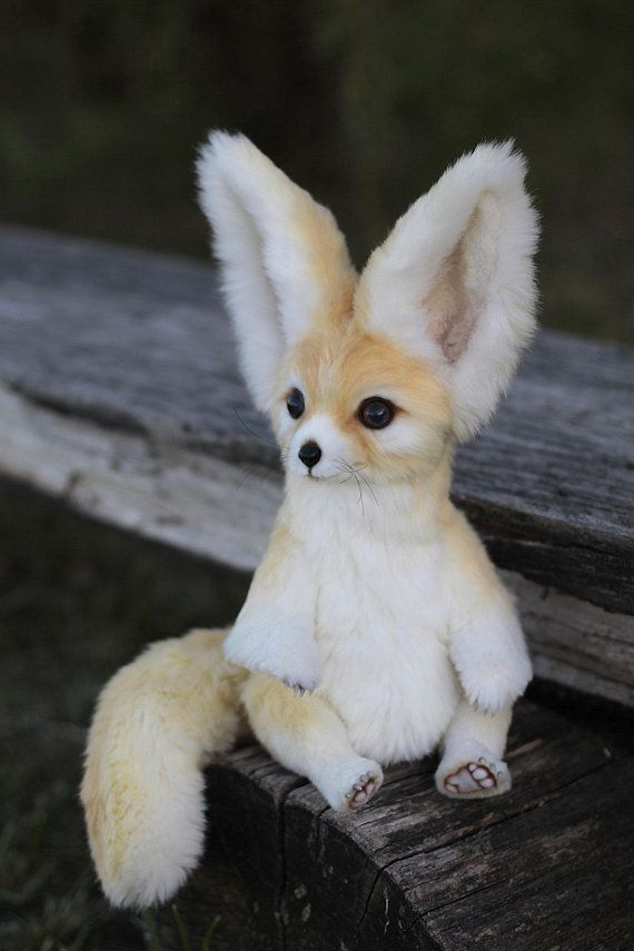 Stuffed Fox Fennec Plush Art Doll Soft Sculpture Animal By Photo Handmade Pet Replica Original